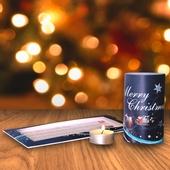 Weihnachtskarte mit Teelichtleuchte