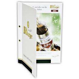 Speisekarten-Mappe mit Buchschrauben - Druckerei Lindner steht für: Ordner bedrucken, Ringordner bedrucken, Ringbücher bedrucken, Firmenordner bedrucken