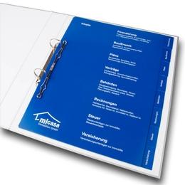 Ordner - Register für Immobilienmakler - Ordnerproduktion im Hause Lindner