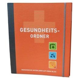 Gesundheitsordner mit Register und Inhalt - Druckerei Lindner steht für: Ordner bedrucken, Ringordner bedrucken, Ringbücher bedrucken, Firmenordner bedrucken