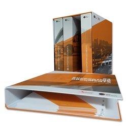 Schuber mit Ordnerreihe - Druckerei Lindner steht für: Ordner bedrucken, Ringordner bedrucken, Ringbücher bedrucken, Firmenordner bedrucken