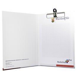 Klemmbrett-Mappe mit Hardcover - Bei Druckerei Lindner kann man: Ordner drucken lassen, Ringordner drucken lassen, Ringbücher drucken lassen, Firmenordner drucken lassen