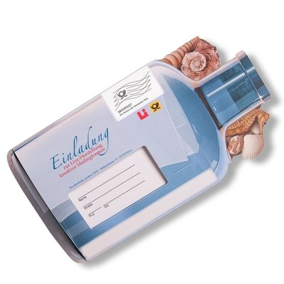 Flaschenpost-Mailing mit Response  - Kreative Drucksachen - prägnant, wirksam, emotional