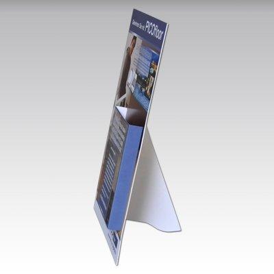 Aufsteller - Thekenaufsteller DIN A4 mit Prospektfach - Druckerei Lindner steht für: Kreative Drucksachen drucken, 3D -Pop-ups drucken,  Effektkarten drucken, Magic-Flyer drucken,Aufsteller drucken