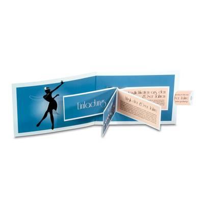 Effektkarte mit aufblätternder Broschüre - Lindner steht für Beratung - Kreation - Veredelung - Druck - Konfektionierung