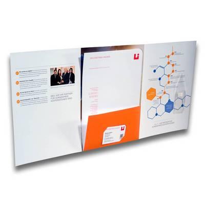 6 Seiten Mappe mit orangener Lasche in der Mitte