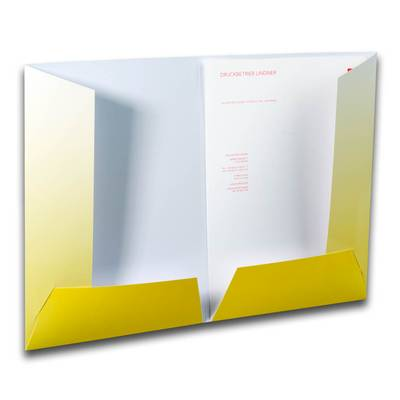Weiße Mappe mit gelben Laschen rechts und links
