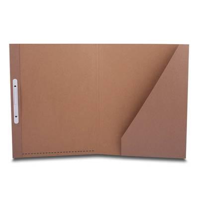 Braune Mappe mit Tasche rechts und Innenabheftung links