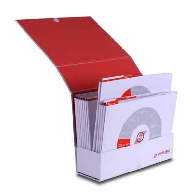 Einschubbox mit großer Füllhöhe - Druckerei Lindner steht für: Ordner bedrucken, Ringordner bedrucken, Ringbücher bedrucken, Firmenordner bedrucken
