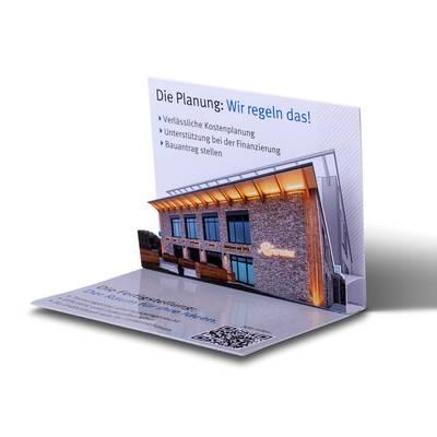 3D Pop-up Karte als Visitenkarte - Lindner steht für Beratung - Kreation - Veredelung - Druck - Konfektionierung