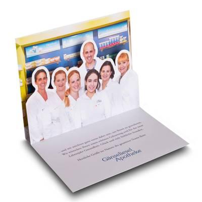 Glückwunschkarte mit Pop-up - Lindner steht für Beratung - Kreation - Veredelung - Druck - Konfektionierung