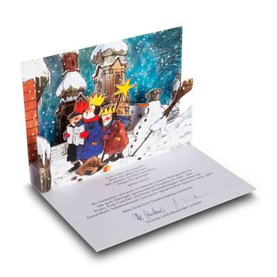 Weihnachtskarte mit 3D Pop-up  - Lindner steht für Beratung - Kreation - Veredelung - Druck - Konfektionierung