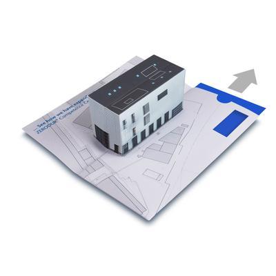3D Pop-up Karte mit Volumenelement für Immobilien - Lindner steht für Beratung - Kreation - Veredelung - Druck - Konfektionierung