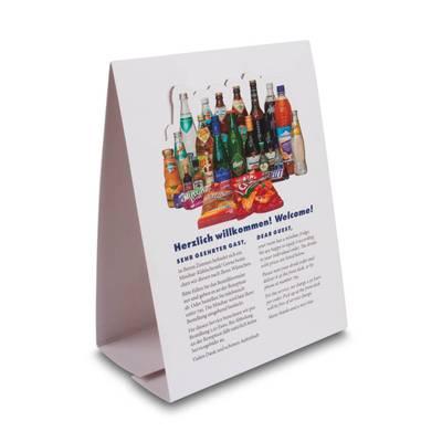 Thekenaufsteller als Dispenser für Getränkekarte - Druckerei Lindner steht für: Kreative Drucksachen drucken, 3D -Pop-ups drucken,  Effektkarten drucken, Magic-Flyer drucken,Aufsteller drucken