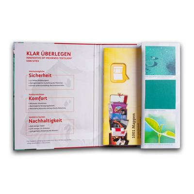 Boxmappe mit Stoffmustern - Druckerei Lindner steht für: Ordner bedrucken, Ringordner bedrucken, Ringbücher bedrucken, Firmenordner bedrucken