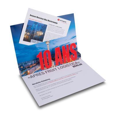 Einladung mit 3D Pop-up und Einsteckfach - Lindner steht für Beratung - Kreation - Veredelung - Druck - Konfektionierung