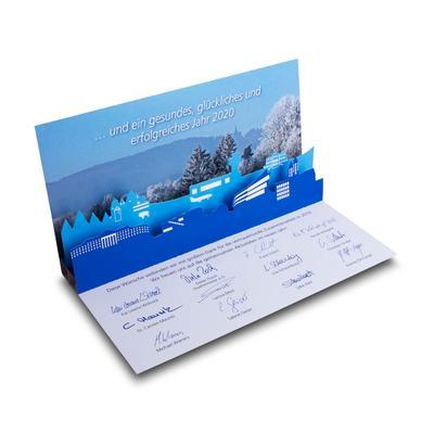 3D Pop-up Karte DIN lang - Weihnachtskarte - Lindner steht für Beratung - Kreation - Veredelung - Druck - Konfektionierung