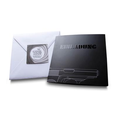 Einladung mit Umschlag und Etikett - Kreative Drucksachen - prägnant, wirksam, emotional