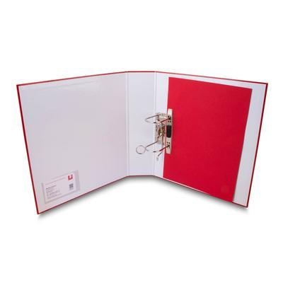 Hebelordner offen mit roten Trennblatt