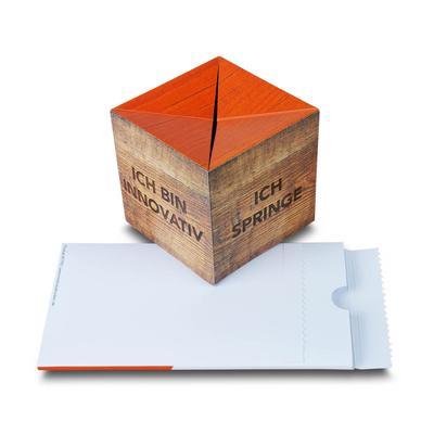Pop-up Cube mit Aufreißverpackung - Lindner steht für Beratung - Kreation - Veredelung - Druck - Konfektionierung