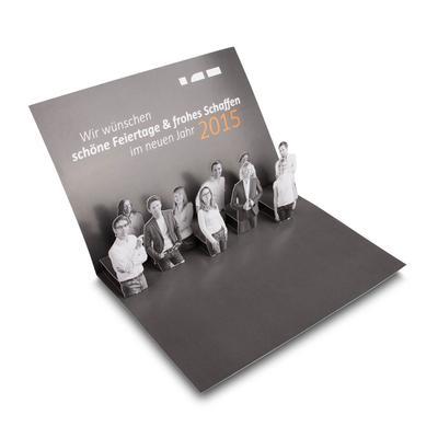 Pop-up DIN A5 - Neujahrsgrüße - Kreative Drucksachen dienen auch als Beratungsunterstützung und Produkterklärung