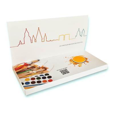 Klappdeckelschachtel mit  Vertiefung  - Kreative Drucksachen dienen auch als Beratungsunterstützung und Produkterklärung