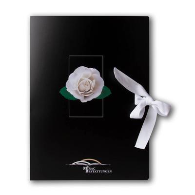 Schwarze Mappe Motiv weiße Rose