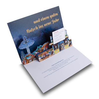 3D Popup-Karte mit Telefonkarte für Schausteller - Kreative Drucksachen dienen auch als Beratungsunterstützung und Produkterklärung