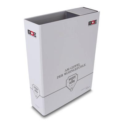 Präsentationsbox für das Baumanagement - Druckerei Lindner steht für: Ordner drucken, Ringordner drucken, Ringbücher drucken, Firmenordner drucken