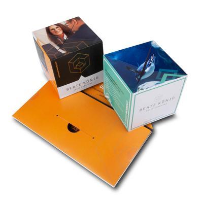 Mailing mit zwei Springwürfeln - Kreative Drucksachen dienen auch als Beratungsunterstützung und Produkterklärung