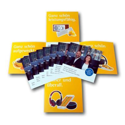 Kreuzflyer mit Einlegekarte - Kreative Drucksachen dienen auch als Beratungsunterstützung und Produkterklärung