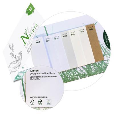 Natureline Papiermuster Fächer - Kreative Drucksachen dienen auch als Beratungsunterstützung und Produkterklärung