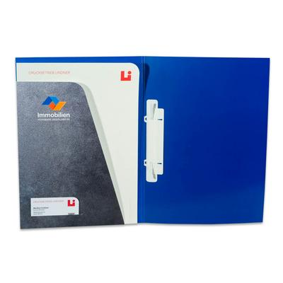 Blaue Pressemappe mit grauer Tasche