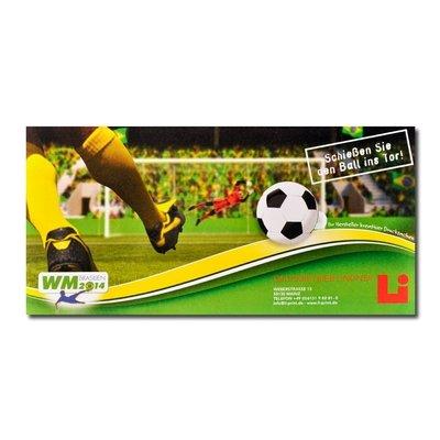 WM Fußball Mailing Fensterkarte - Lindner steht für Beratung - Kreation - Veredelung - Druck - Konfektionierung