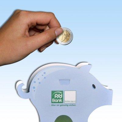 Sparschwein als Ausbrechbogen  - Kreative Drucksachen dienen auch als Beratungsunterstützung und Produkterklärung