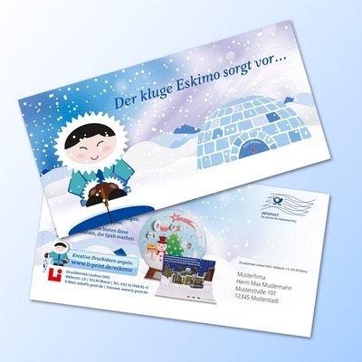 Design-Großpostkarte - Karte mit Türchen (Iglu) - Lindner steht für Beratung - Kreation - Veredelung - Druck - Konfektionierung