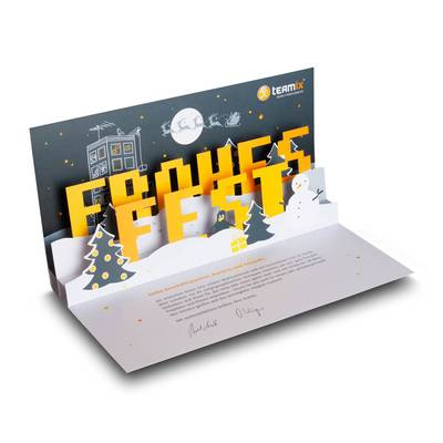 3D Pop-up Karte DIN lang - Weihnachtskarte - Kreative Drucksachen - prägnant, wirksam, emotional