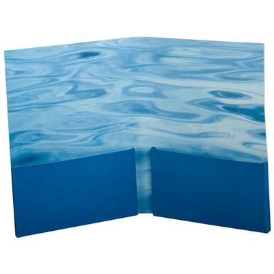 Blaue Mappe mit Doppeltaschen und Wellenmotiv