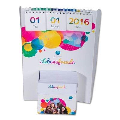 3D Tischkalender mit Notizzetteln - Kreative Drucksachen dienen auch als Beratungsunterstützung und Produkterklärung