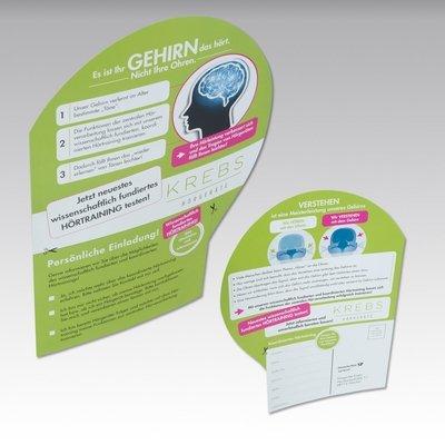Karte in Ohrform - Kreative Drucksachen - prägnant, wirksam, emotional