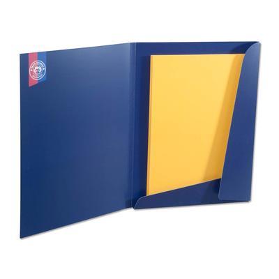 Blaue Laschenmappe mit gelben Inhaltsblatt