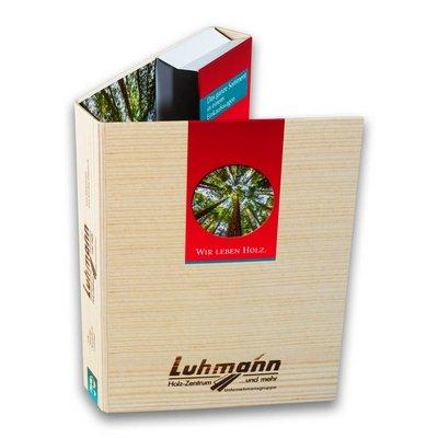 Breite Einschubbox mit Visitenkartentasche - Firmenordner, Ringbücher, Ringmappen individuell bedrucken lassen