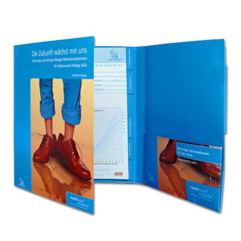 Blaue 6-Seiten Mappe mit Füßen