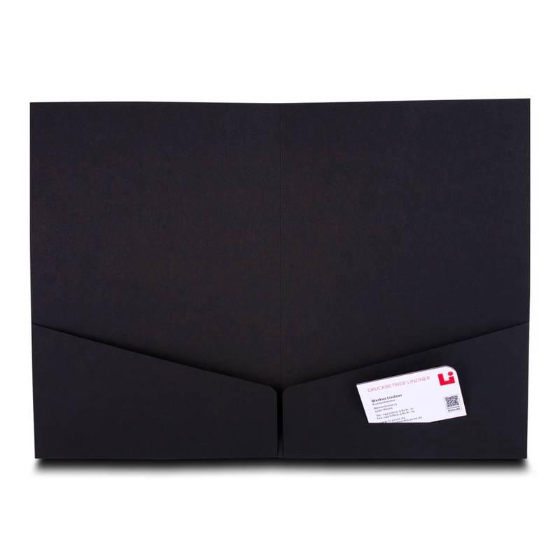 Schwarze Doppeltaschen Mappe mit Visitenkarte