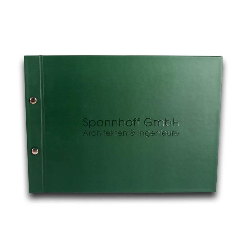Grüne Mappe mit Buchschrauben