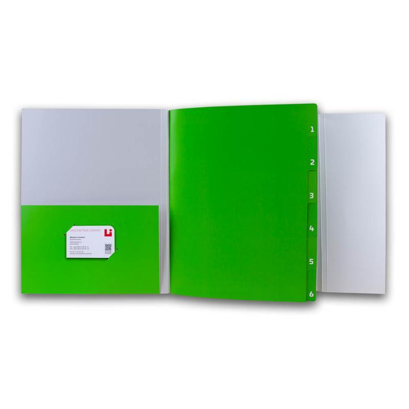 Grau-Grüne Registermappe mit Tasche links