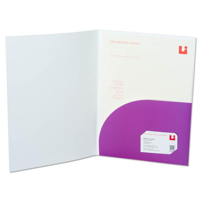 Mappe mit lila Tasche rechts